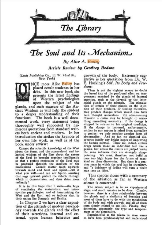 Bài báo Ông Geoffrey Hodson review quyển The Soul and Its Mechanism của bà Bailey.