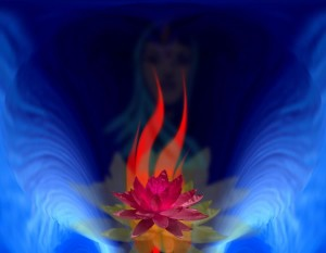 Hoa sen Chân Ngã (Egoic Lotus) - Tác phẩm của Duane Carpenter - http://www.light-weaver.com/ Đằng sau hoa sen là hình ảnh của đấng Thái dương Thiên Thần
