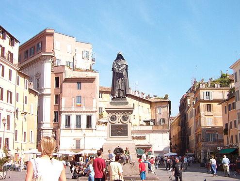 Tượng kỷ niệm nơi Giordano Bruno bị hỏa thiêu ở Ý